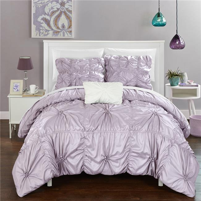 Chic Home DS2245 BIB US 8 Piece Monet Floral Pinch Pleat Ruffled Designer  Embellished Queen Bed In A Bag Duvet Set, Lavender With White Sheets