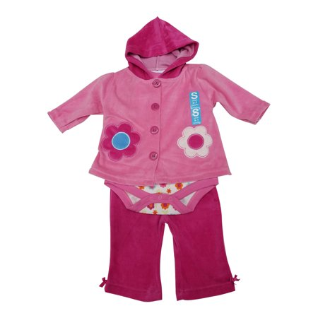 Bon Bebe Baby Girls Hot Pink Flower Hooded Top Bodysuit 3 Pc Pant Set