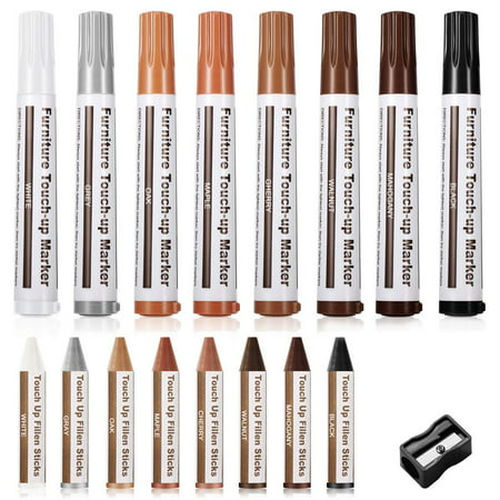 PHD Furniture Repair Markers, 17-Piece Wood Touch-Up Markers and Wax Sticks, Furniture Repair Kit, Wax Stick Crayons, Wood Scratches Repair Markers, Scratch Restore & Repair Touch Up Kit ()