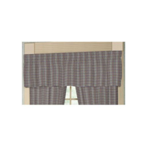 Patch Magic Red Lines and Off White Plaid 54'' Curtain Valance