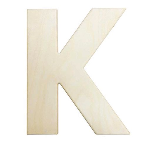 Large Unfinished Wood Letter: K   12 inches   Walmart.com