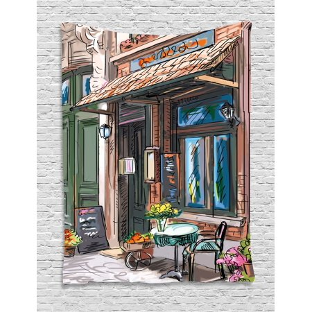 City Tapestry, Street in Paris Cafe Illustration Holiday Theme Summer Season Eating Drinking Cartoon, Wall Hanging for Bedroom Living Room Dorm Decor, Multicolor, by Ambesonne - Paris Themed Room Decor