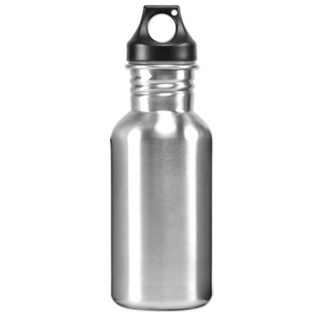 Eco-Friendly Wide Mouth 17 oz, 500 mL Stainless Steel Water Bottle - BPA Free, Brushed Metal Silver Aluminum Wide Mouth Bottle