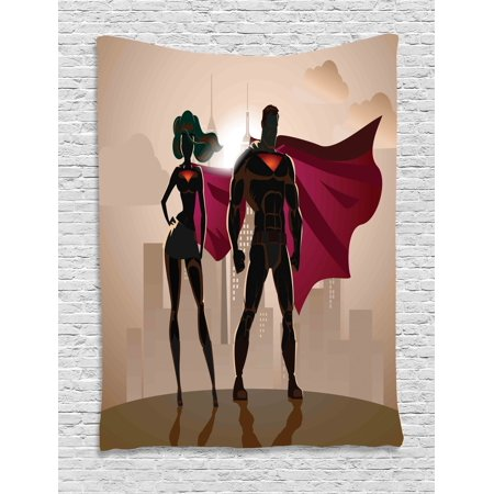 Superhero Tapestry, Super Woman and Man Heroes in City Fighting Crime Hot Couple in Costume, Wall Hanging for Bedroom Living Room Dorm Decor, 60W X 80L Inches, Beige Brown Magenta, by Ambesonne - Costumes For Couple