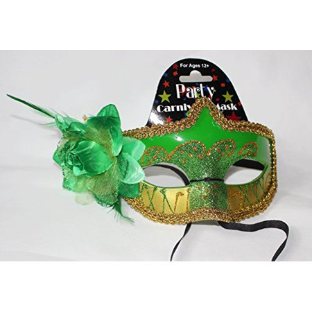 Regent Products Green and Gold Party Carnivale Masqureade Halloween Mask with - Carnivale Chicago Halloween