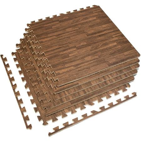 Sorbus Interlocking Floor Mat Wood Grain Print Multipurpose Foam
