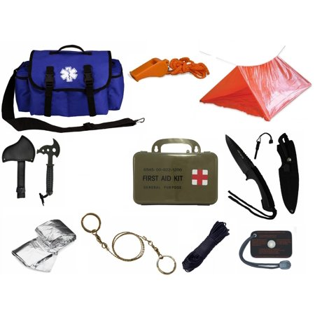 Ultimate Arms Gear Deluxe Blue Emergency Survival Rescue Bag Kit  Signal Mirror  Polarshield Blanket  Knife Fire Starter  Wire Saw  50 Foot Paracord  Camping Tube Tent  Whistle   First Aid Kit