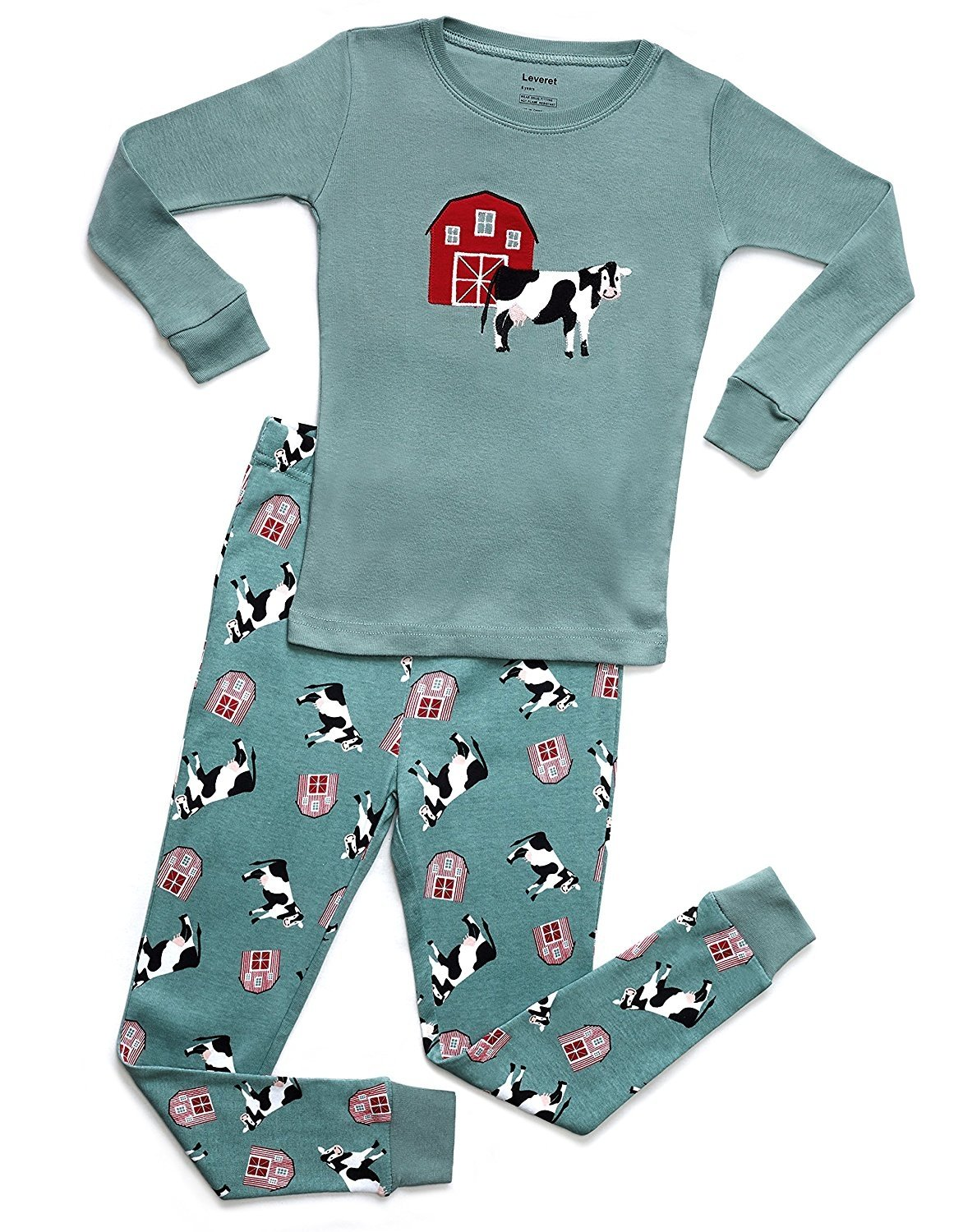 Leveret Organic Cotton Cow 2 Piece Pajama Set 8 Years