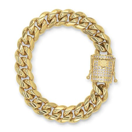 "BEBERLINI Cuban Link Bracelet Gold Plated with Cubic Zirconia Box Clasp Miami Cuban Chain Stainless Steel Fashion Jewelry 14 mm Width 30"" Long"
