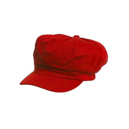 Cotton Elastic Newsboy Cap- Red - Newsboy Beanie
