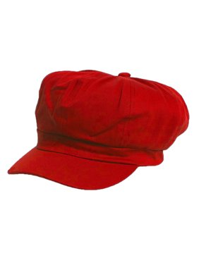Cotton Elastic Newsboy Cap- Red