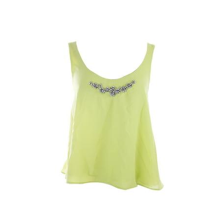 Kiind Of  Lime Sleeveless Selena Crossback Jewel Tank Top S