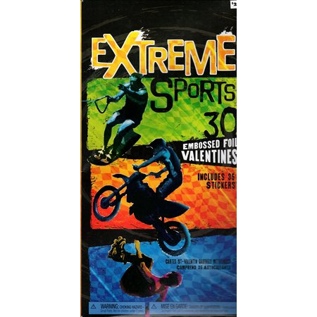 Extreme Sports Embossed Foil Valentine Cards for Kids (11802), By American Greetings