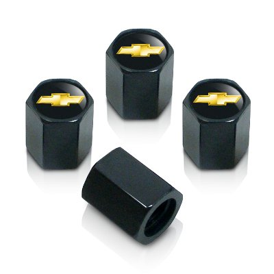 Black Chevrolet Solid Gold Logo Tire Stem Valve Caps