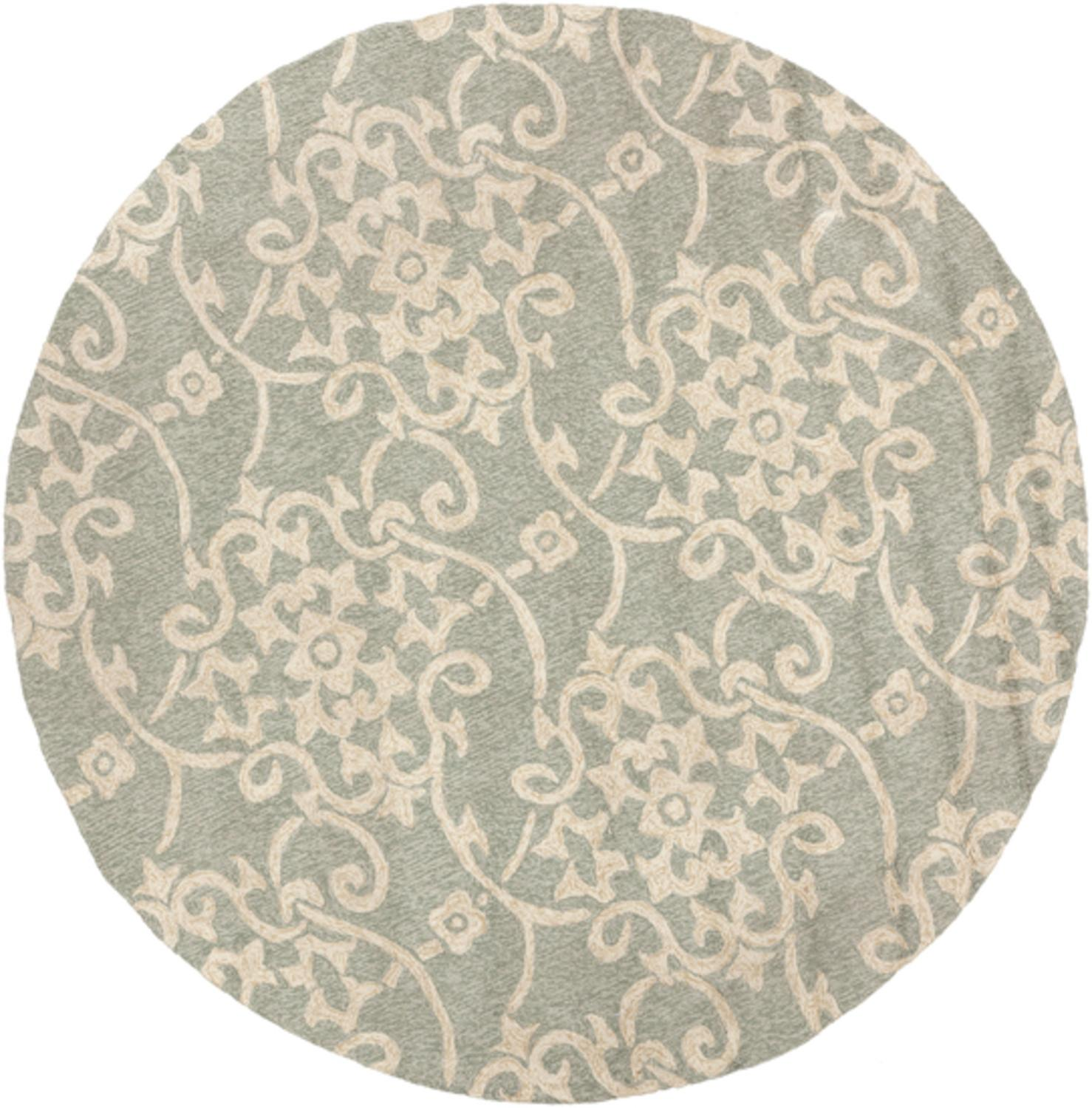8' Starry Jasmine Sea Green and Beige Hand Hooked Outdoor Round Area
