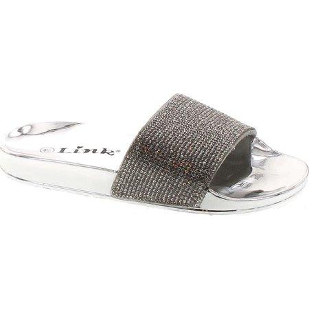 Link Girls Stun-02K Open Toe Wide Rhinestone Single Band Slide On Sandals