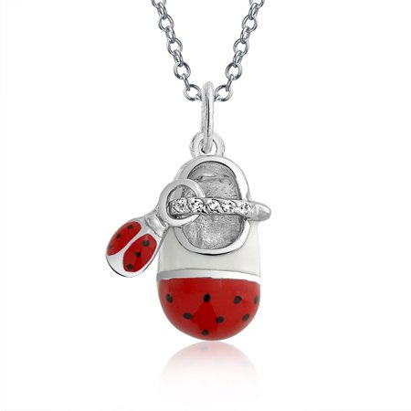 Engravable White Enamel Red Ladybug CZ Baby Shoe Charm Pendant Necklace For New Mother Women 925 Sterling Silver - image 4 de 4