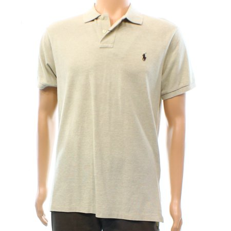 Polo Ralph Lauren Mens Large Shirt Beige, Rugby Cotton Shirt
