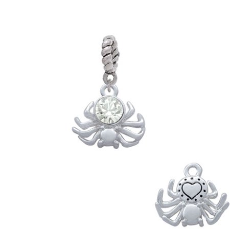 Silvertone 3-D Clear Crystal Spider - Rope Charm Bead
