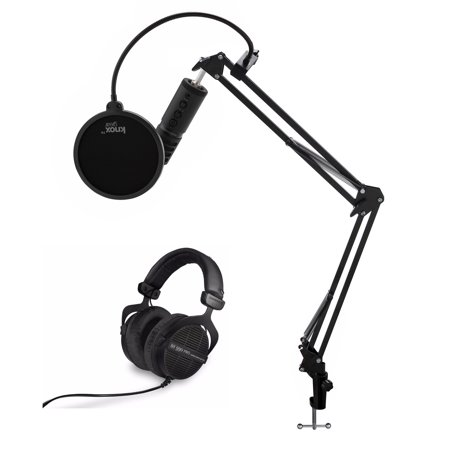 beyerdynamic DT 990 Pro Dynamic Headphones (Black, Limited Edition) + USB Microphone + Accessories Bundle