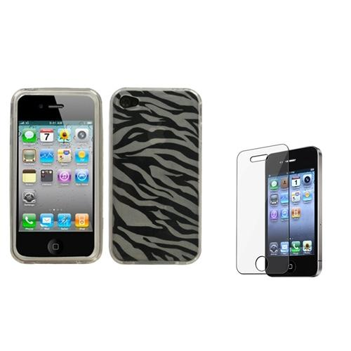 Insten T-Clear Zebra Skin Candy Case Cover+LCD Screen Protector For APPLE iPhone 4S/4