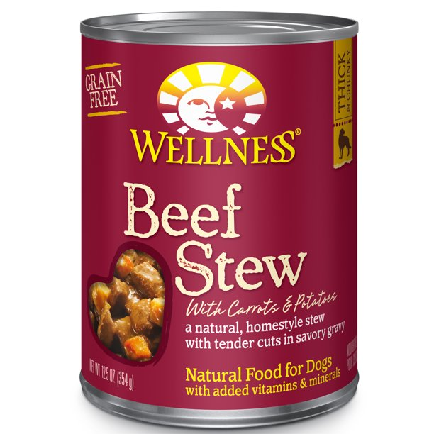 Wellness Thick & Chunky Natural Grain Free Canned Dog Food, Beef Stew, 12.5-Ounce Can (Pack of 12)