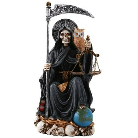 Santa Muerte Saint of Holy Death Seated Religious Statue 9 Inch Protection (Black)