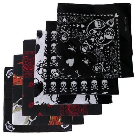 HDE 6 Pack Variety Prints Trainmen Style Skulls and Fire Handkerchief Paisley Bandana Head Wrap Doo Rag - Skull Bandana
