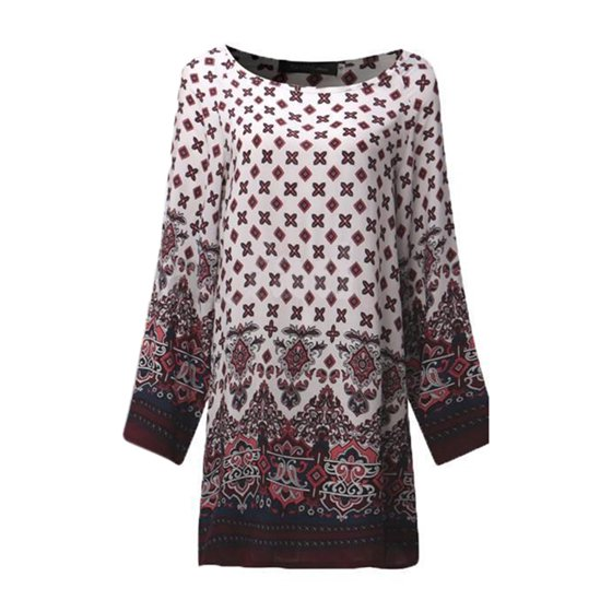 0d15bcd1c9e ... Boho Style,Floral Print,Crew Neck,Loose,Baggy,Long Sleeve,National  Style,Round Neck,Like Long Tops Shirt,Tunic Dress,,Above Knee Printed Shirts  Dress. ...