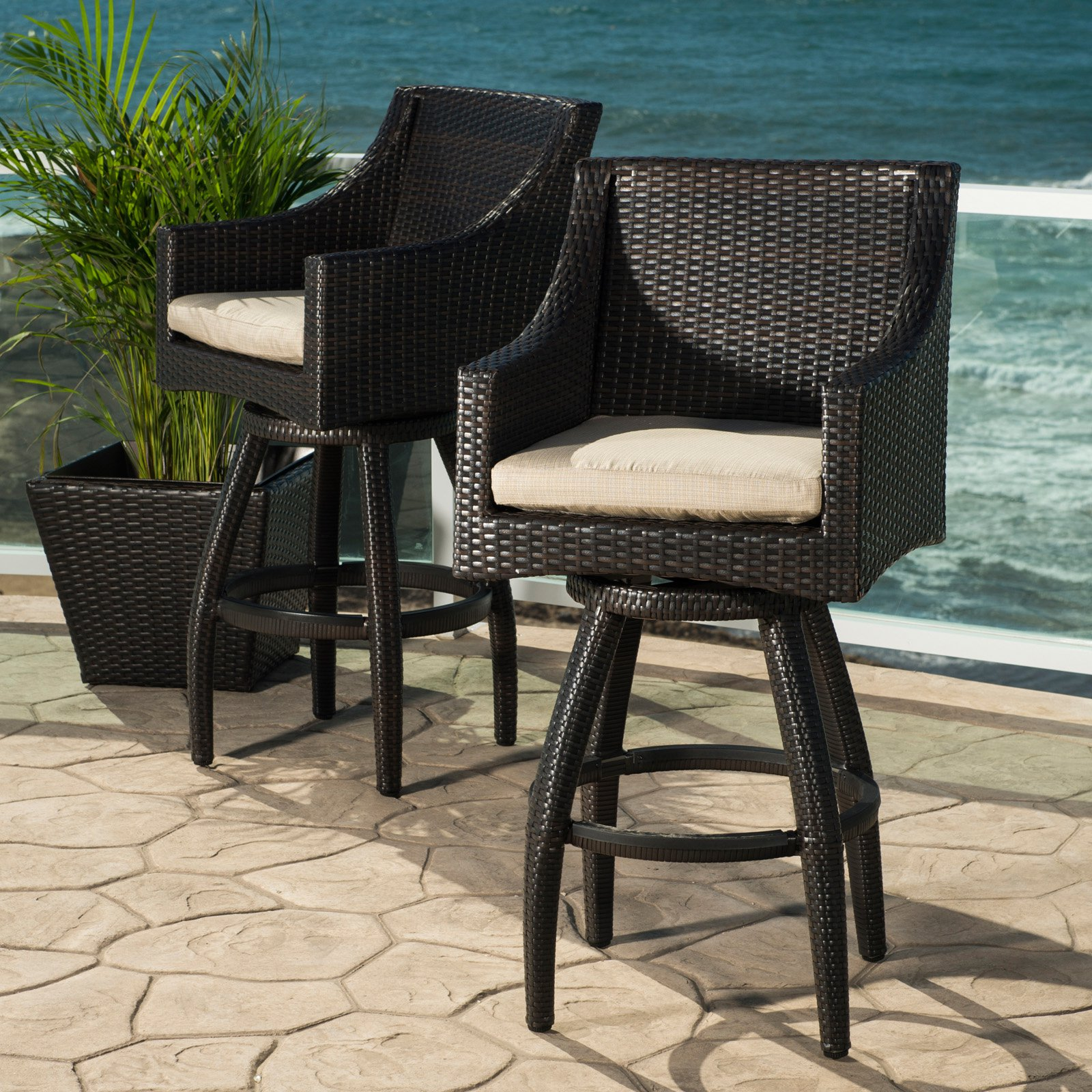 RST Deco Wicker Swivel Patio Barstools   Set Of 2
