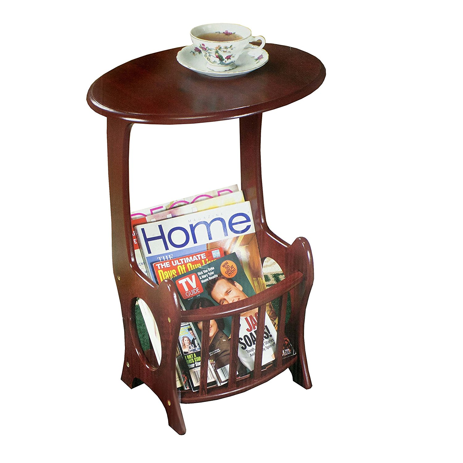 Wooden Magazine Table Wood End Table Magazine Rack Table by