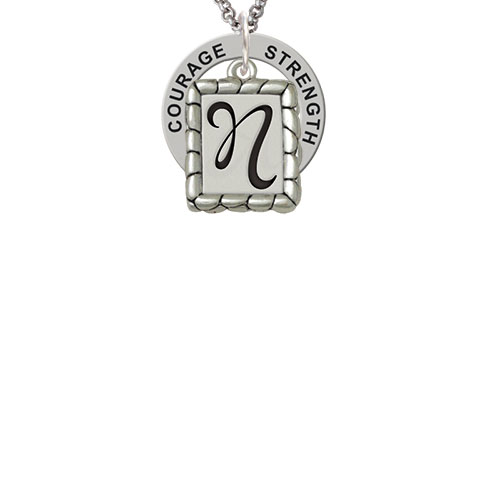 Pebble Border Initial - N Strength Wisdom Courage Affirmation Ring Necklace