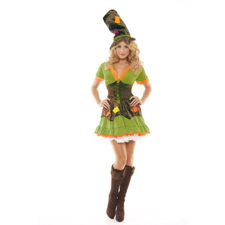 Elegant Moments Racy Ragamuffin Mad Hatter 2pc Women Costume, Medium (6-10) - Mad Hatter Woman Costume