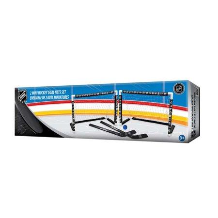 Inglasco NHL Double Net Mini Hockey Goal Net Set Includes 2 Sticks and Foam (Hockey Goal Replacement Net)