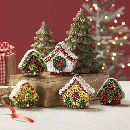 Sunrise Craft & Hobby™ Holiday Birdhouses Sit Set Ornament Kit (Easy Holiday Crafts)