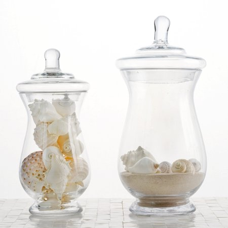 "BalsaCircle 2 pcs 10"" 12"" tall Clear Glass Apothecary Jars with Lids - Wedding Party Event Candy Gift Packaging Decorations Supplies"