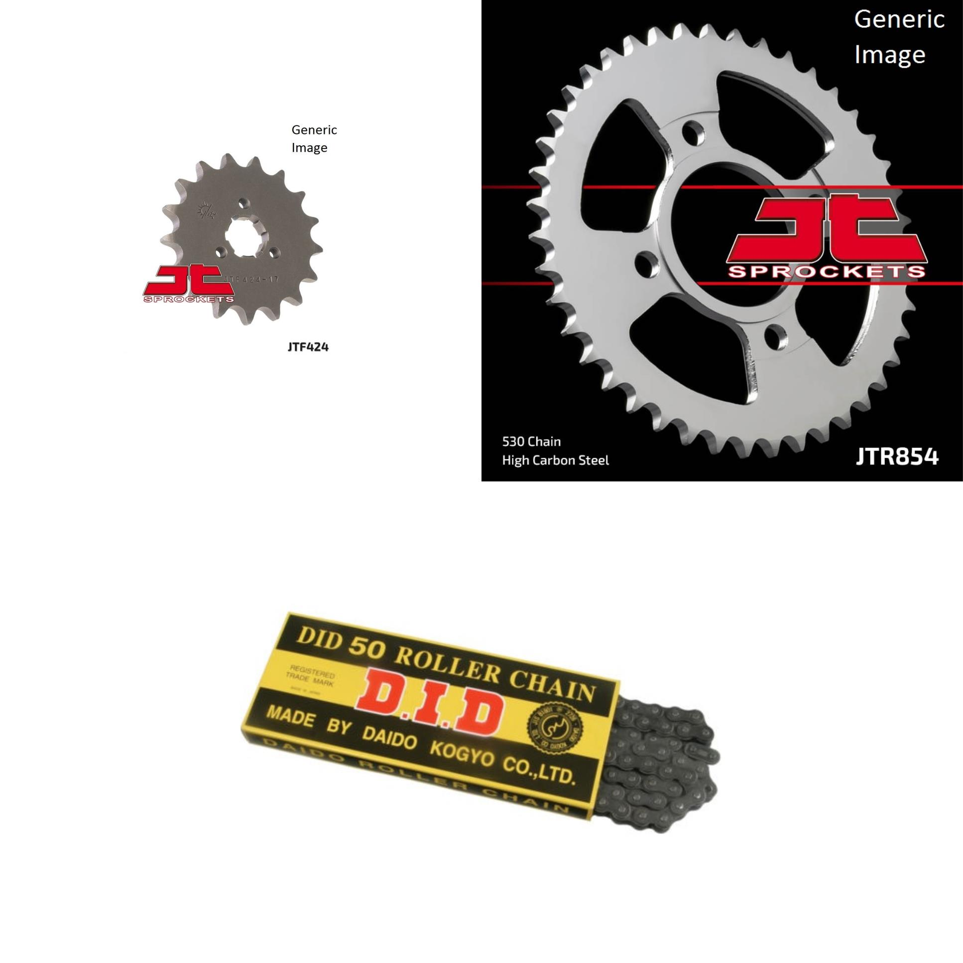 DID Standard 530 Chain Natural, JT Front & Rear Sprocket Kit for Street YAMAHA XS400 2F 1979