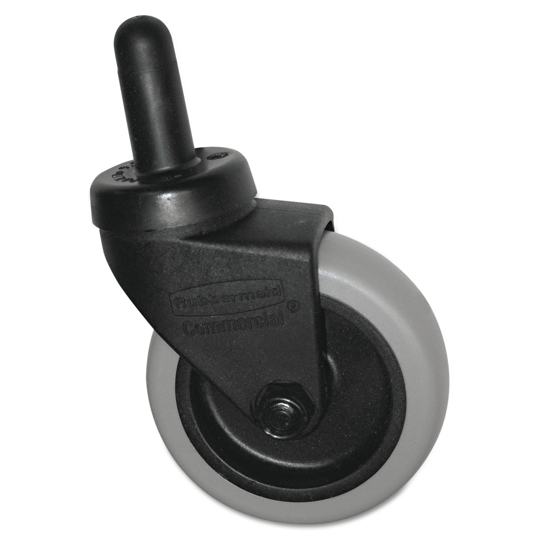 "Rubbermaid Commercial Replacement Swivel Bayonet Casters, 3"" Wheel, Thermoplastic Rubber, Black"