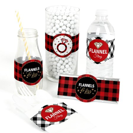Flannel Fling Before The Ring - DIY Party Supplies - Buffalo Plaid Bachelorette Party DIY Wrapper Favors & Decor - 15 Ct