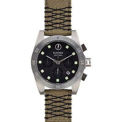 - DW01 Mens Chronograph Watch Black Dial Olive Nylon Band Contrast Stitch