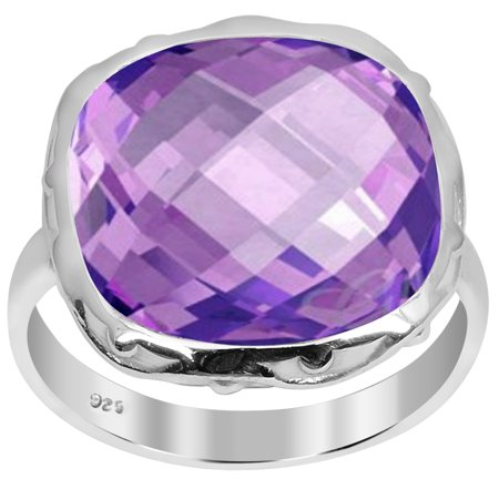 Orchid Jewelry 10.40 Carat Genuine Amethyst Cushion Sterling Silver Ring Size -7 Amethyst Engagement Genuine Ring