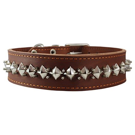 Thick Genuine Leather Spiked Studded Dog Collar Brown Sized to Fit 18'-22' Neck. Retriever, Doberman, Rottweiler, Pitbull (Doberman Spike Collar)