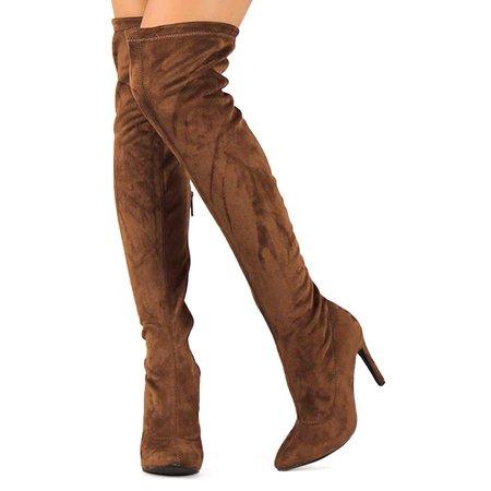 4b5ccfde04b Women Faux Suede Pointy Toe Stiletto Heel Thigh High Boot BG03