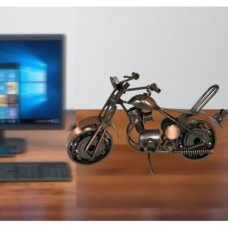 Metal Motorcycle Model, miniature motorcycle made of all metal pieces. Product Size: 7.5x 3.5x 3.25 With moving wheels and the unit can stand on its own. All -