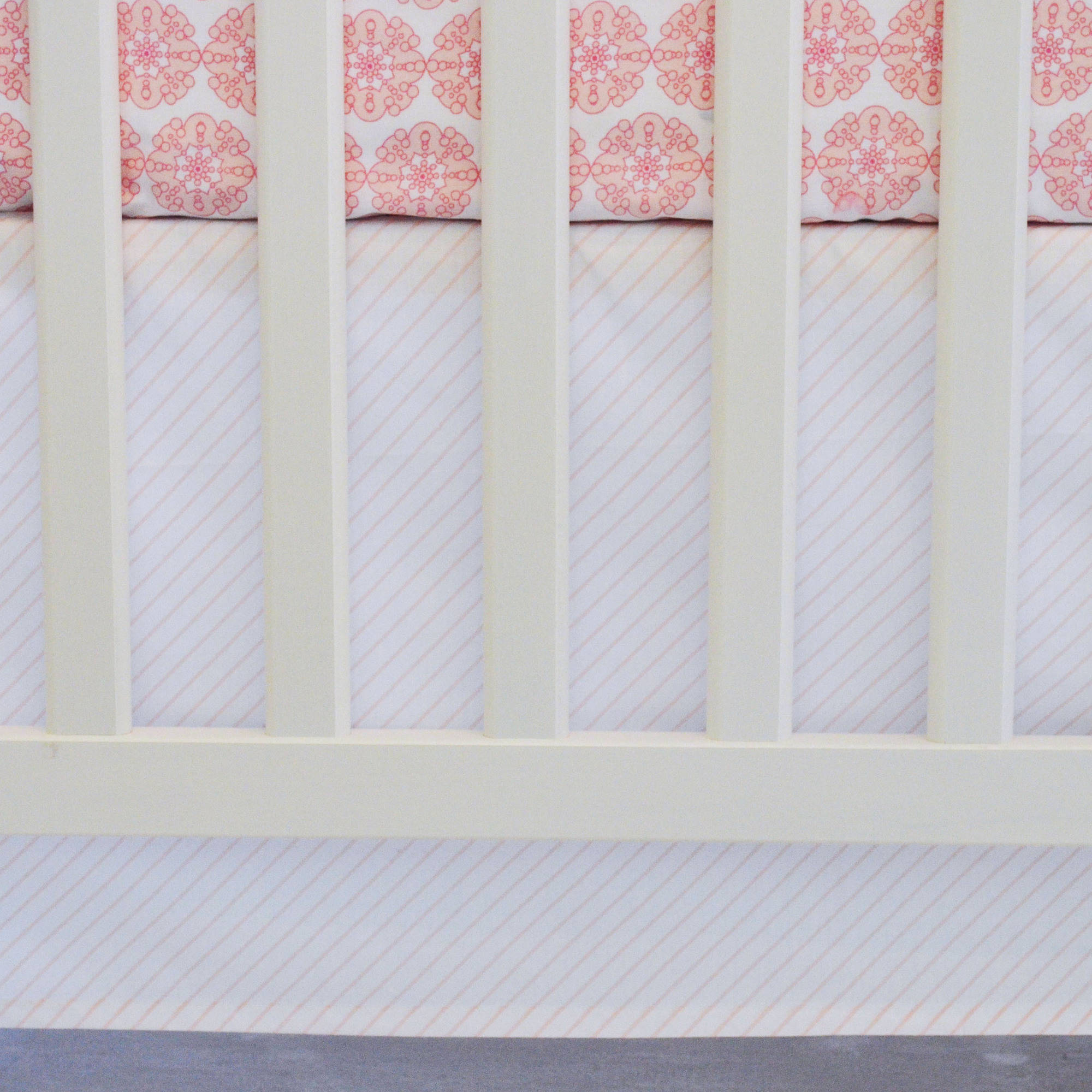 Oliver B Striped Crib Skirt, Pink and White