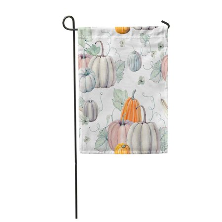 SIDONKU Pattern Watercolor Pumpkins It is Thanksgiving Halloween Recipe Fall Garden Flag Decorative Flag House Banner 12x18 inch
