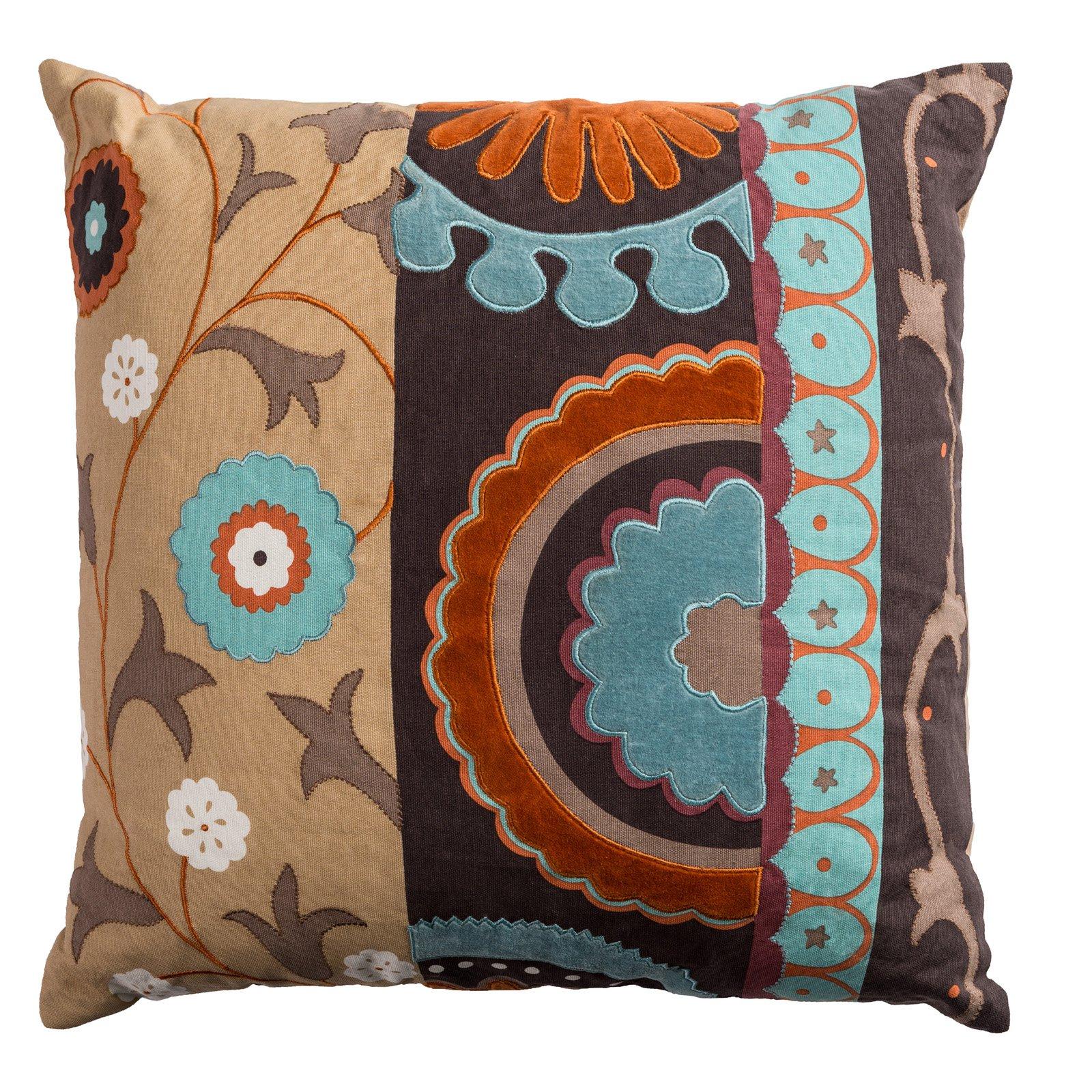 """Rizzy Home Decorative Poly Filled Throw Pillow Medallion With Flourish 20""""X20"""" Khaki"""
