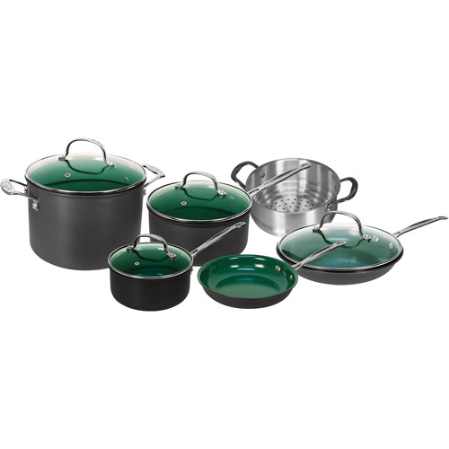 As Seen on TV OrGREENic 10-Piece Porcelain Ceramic Non-Stick Cookware Set