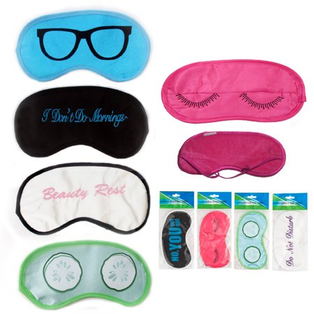 Eze Pillow - 4 Pc Silk Embroidered Travel Eye Mask Sleeping Blindfold Cover Shade Sleep Rest