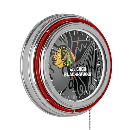 NHL Chrome Double Rung Neon Clock - Watermark - Chicago Blackhawks�
